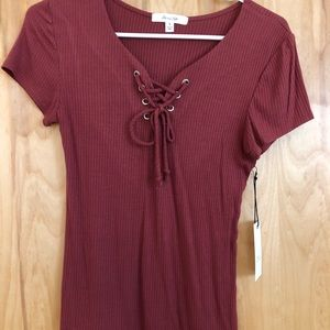 Active USA Maroon Lace Up Top